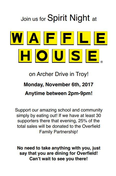 October 30 2017 overfield school troy ohio reggio for Is waffle house open on thanksgiving